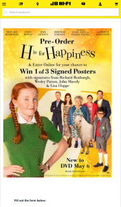JB HiFi Pre-order H is for Happiness to – Win 1 of 3 Signed Posters (prize valued at $450)