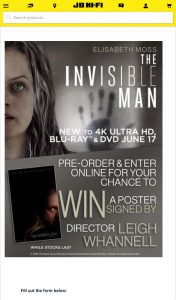JB HiFi Pre-order The Invisible Man to – Win a Poster Signed By Director Leigh Whannell (prize valued at $150)