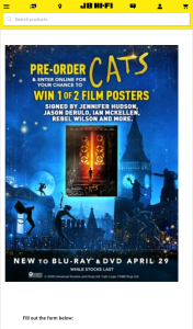JB HiFi Purchase a copy of Cats to – Win 1 of 2 Posters Signed By Jennifer Hudson (prize valued at $700)