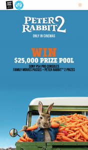 Just Veg – Woolworths – Win Peter Rabbit Loves Carrots As Much As We Do (prize valued at $25,000)