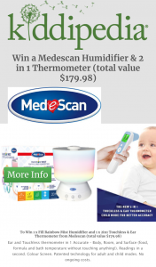 Kiddipedia – Win 1 X Fill Rainbow Mist Humidifier and 1 X 2in1 Touchless & Ear Thermometer From Medescan (total Value $179.98) (prize valued at $280)