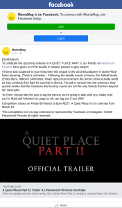MamaMag – Win One of Five a Quiet Place Ii Double Passes