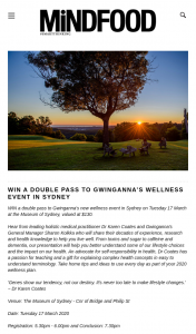 MindFood – Win a Double Pass to Gwinganna's New Wellness Event In Sydney on Tuesday 17 March at The Museum of Sydney (prize valued at $130)