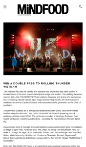 MindFood – Win a Double Pass to Rolling Thunder Vietnam (prize valued at $180)