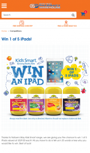 Nature's Way Kid Smart [Vitamins] – Good Price Pharmacy Enter 25WOL plus personal details – Win 1 of 5 Ipads Valued at $529.00 Each (prize valued at $529)
