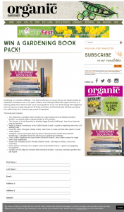 Organic Gardener – Win a Gardening Book Pack (prize valued at $307)