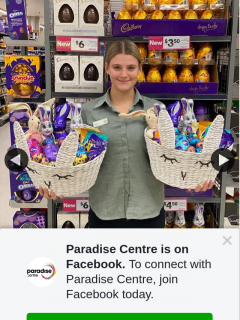 Paradise Centre – Win an Easter Hamper (prize valued at $50)
