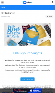 10Play Survey – Win 1 of 5 Mastercard gift cards valued at $200 each