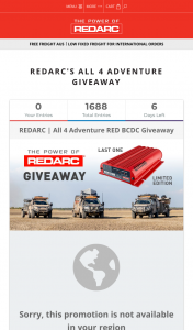 Redarc – Win a Redarc In Vehicle Battery Charger (prize valued at $740)