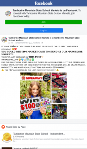 Tambourine Mountain State School Markets – Win $100 Market Cash to Spend at Our Markets (prize valued at $100)