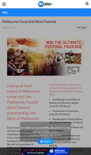 Channel Ten – Win The Ultimate Festival Package to The Melbourne Food & Wine Festival 2020 (prize valued at $1,596)
