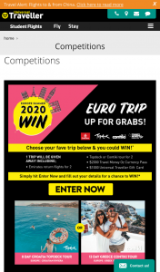 Universal Traveller – Win a Trip to Croatia Or Greece for 2 People (prize valued at $14,822)