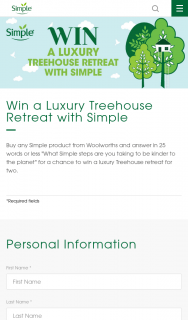 Woolworths-Simple Skincare – Win a Luxury Treehouse Retreat With Simple (prize valued at $3,500)