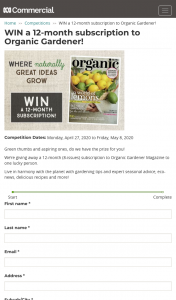 ABC Entertains Me – Win a 12-month Subscription to Organic Gardener (prize valued at $63)