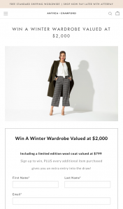 Anthea Crawford – Win a Winter Wardrobe Valued at $2000 (prize valued at $2,000)