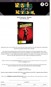 Aussie Comedy Kingdom – Win a Copy of The 1953 Classic Houdini on DVD