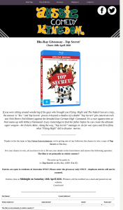 Aussie Comedy Kingdom – Win a Copy of Top Secret on Blu-Ray