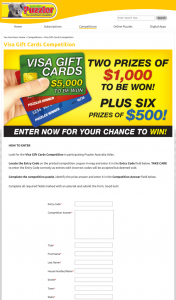 Australian Puzzler – Win a Visa Gift Card Valued at Au$1000. (prize valued at $5,000)