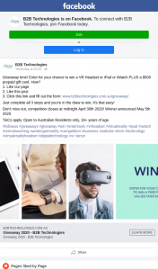B2B Technologies – Win a Vr Headset Or Ipad Or Iwatch Plus a $500 Prepaid Gift Card