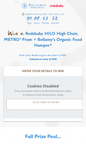 Bellamy's Organic – Win a Redsbaby Hilo High Chair (prize valued at $1,000)