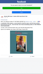 Books With Heart – Win 1 of 5 Advance Copies of The Paris Secret By Natasha Lester