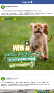 Budget Pet Products – Win a Year's Supply of Small Paws Food Pet Monitor Try Hill's Science Diet Small Paws
