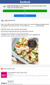 Bulla Family Dairy – Win 1 of 5 X $50 Grocery Vouchers (prize valued at $250)