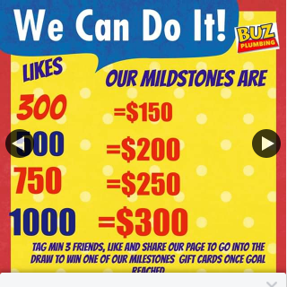 Buz Plumbing – Win Gift Cards (prize valued at $900)