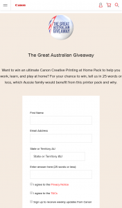 Canon Australia – Win 1 of 150 Canon 'creative Printing at Home Packs