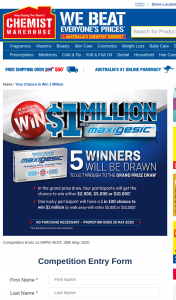Chemist Warehouse-Maxigesic – Win $1million With Maxigesic (prize valued at $750)