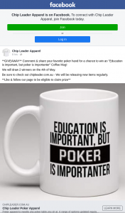 """Chip Leader Apparel – Win an """"education Is Important"""