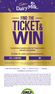 Coles Buy block special marked Cadbury blocks find winning tickets trip to Tokyo Olympics & instant cash – Win 1000 Find a Bronze Ticket Win 500. (prize valued at $60,000)
