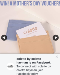 Colette by Colette Hayman – Win $50 for Your Mum to Use Online (prize valued at $100)