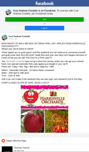 Cosi Andrew Costello – Win a $50 Box of Fresh Pink Lady Apples From Harrisville Orchards??