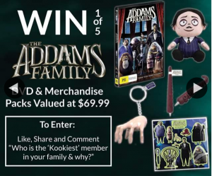 Costume Box – Win 1/5 The Addams Family Merchandise Prize Packs