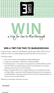 De Bortoli 3 Tales – Win a Trip for Two (2) Adults to Marlborough (prize valued at $3,000)