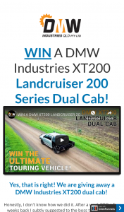 DMW Industries – Purchase a DMW T-Shirt & – Win a Dmw Xt200 Landcruiser Accessories (prize valued at $155,565)