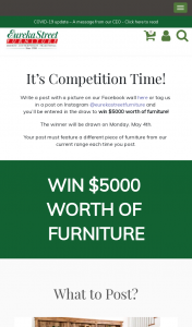 Eureka Street Furniture – Post a picture of our current Eureka Street Furniture Range to – Win $5000 Worth of Furniture