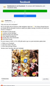 Gelatissimo – Win 1 of 10 X $20 Gift Cards to Go on a Post-Restrictions Gelato Date (prize valued at $200)