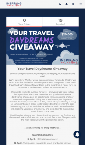 Inspiring Vacations – Win a Voucher to Put Towards Future Travel (prize valued at $24,000)