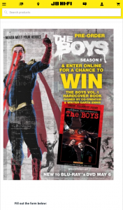 JB HiFi Pre-order The Boys Season 1 to – Win a Hardcover Book Signed By Co-Creator and Writer Garth Ennis (prize valued at $120)