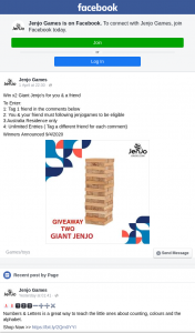 Jenjo Games – Win X 2 Giant Jenjo's for You & a Friend