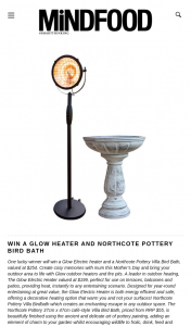 MindFood – Win a Glow Electric Heater and a Northcote Pottery Villa Bird Bath (prize valued at $254)