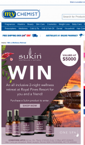 MyChemist-Chemist Warehouse/EPharmacy / Sukin – Win a Wellness Trip to The Gold Coast for Two (2) Adults Valued at Up to Au$5000 Depending on Date and Point of Departure (prize valued at $5,000)