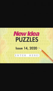 New Idea Puzzles 14 closes 5pm – Competition (prize valued at $1,000)