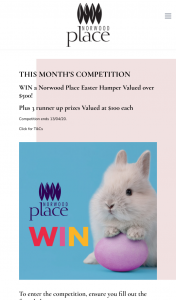 Norwood Place – Win a Norwood Place Easter Hamper Valued Over $500 (prize valued at $519.61)