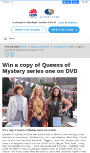 NSW Seniors Card – Win a Copy of Queens of Mystery Series One on DVD