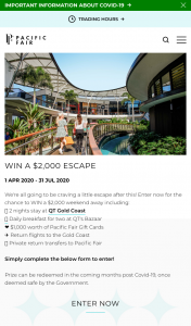 Pacific Fair Shopping Centre – Win a $2000 Weekend Away Including (prize valued at $2,000)