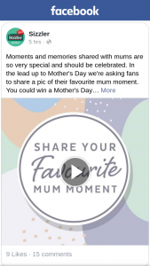 Sizzler – Win a Mother's Day Takeaway Feast on Us (prize valued at $180)