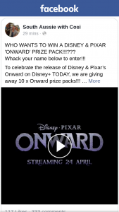 South Aussie with Cosi – Win a Disney & Pixar 'onward' Prize Pack??